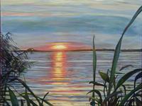 Renee-Koenig-Landschaft-See-Meer-Romantik-Sonnenuntergang-Neuzeit-Realismus