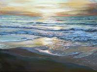 Renee-Koenig-Landschaft-See-Meer-Romantik-Sonnenuntergang-Moderne-Fotorealismus