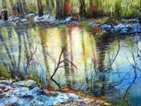 Renee-Koenig-Landschaft-Winter-Natur-Wasser-Moderne-expressiver-Realismus