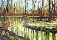 Renee-Koenig-Landschaft-Winter-Pflanzen-Baeume-Moderne-expressiver-Realismus