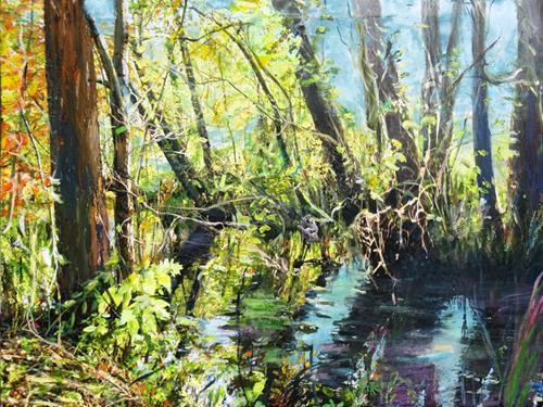 Renée König, Am Wasser, Landschaft: Frühling, Pflanzen: Blumen, Postimpressionismus, Expressionismus