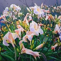 Renee-Koenig-Pflanzen-Blumen-Romantik-Sonnenuntergang-Neuzeit-Realismus