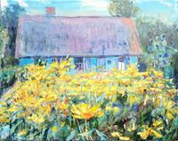Renee-Koenig-Bauten-Haus-Pflanzen-Blumen-Moderne-Impressionismus-Postimpressionismus