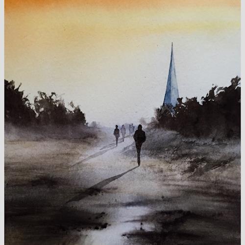 Andreas Gortan, take us to church, Diverse Landschaften, Menschen: Gruppe, Gegenwartskunst, Expressionismus
