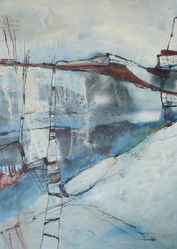 Monika Ostheimer, Terra incognita, Landschaft: Winter, Abstraktes, Gegenwartskunst, Expressionismus