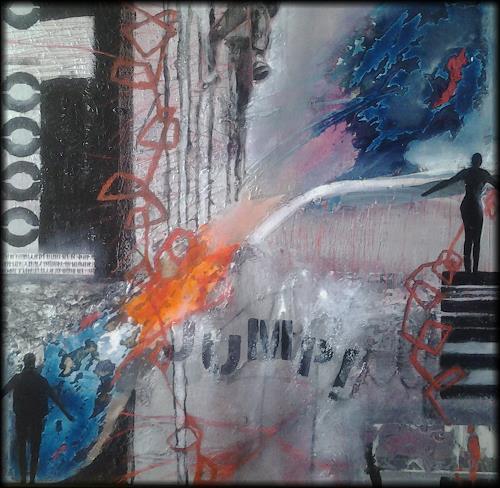Monika Ostheimer, Jump!, Abstraktes, Diverse Menschen, Gegenwartskunst, Abstrakter Expressionismus