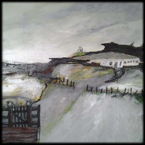 Monika Ostheimer, Haus auf dem Hügel, Natur, Landschaft: Frühling, Gegenwartskunst, Expressionismus