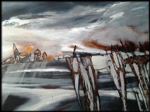 Monika Ostheimer, Abendstimmung, Landschaft, Gegenwartskunst, Expressionismus