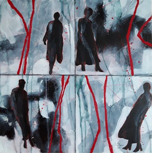 Monika Ostheimer, Auf ihrem Weg, Menschen, Abstraktes, Gegenwartskunst, Abstrakter Expressionismus