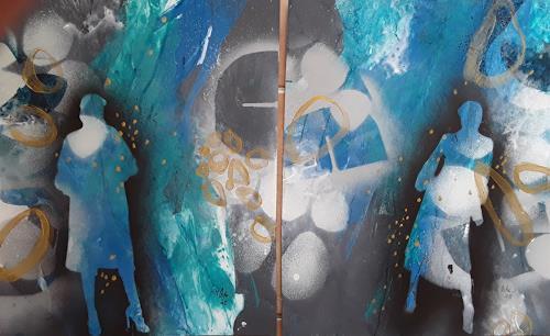 Monika Ostheimer, Lady in blue, Menschen, Abstraktes, Gegenwartskunst