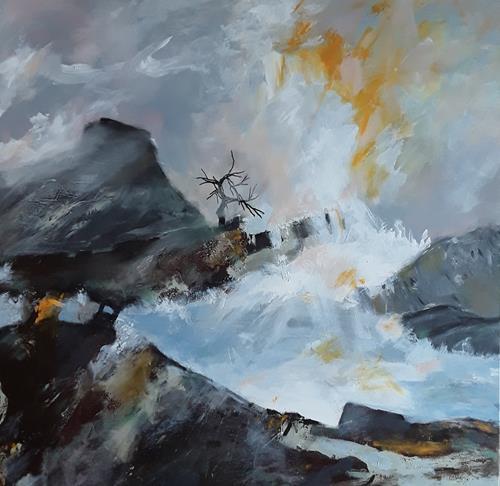 Monika Ostheimer, Devil's Peak, Landschaft, Natur, Gegenwartskunst, Abstrakter Expressionismus