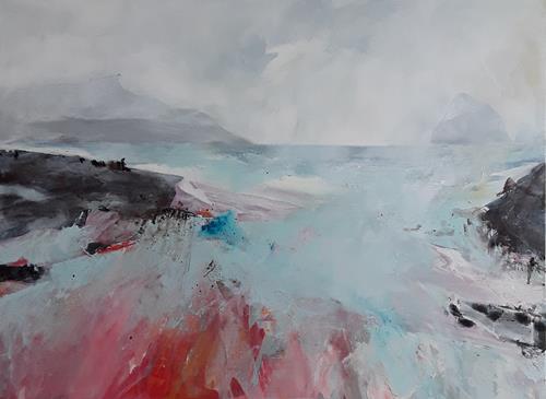 Monika Ostheimer, Nebel zieht auf II, Landschaft, Natur, Land-Art, Abstrakter Expressionismus