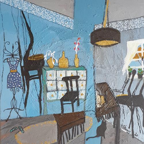 Monika Ostheimer, Room in room, Stilleben, Wohnen, Naive Kunst, Expressionismus