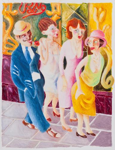 Ken Dowsing, Yorkshire Girls, Abstraktes, Expressionismus