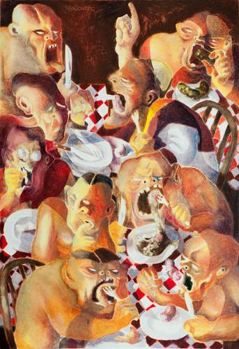 Ken Dowsing, LUNCH AT BURTONS, Abstraktes, Abstrakter Expressionismus