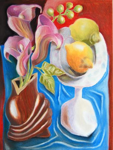 Ken Dowsing, Orchideen mit Zitronen 2, Stilleben, Stilleben, Expressionismus
