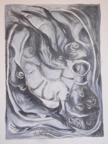 Ken Dowsing, Fische mit Vase, Dekoratives, Essen, Expressionismus