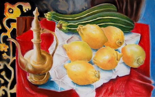 Ken Dowsing, Karaffe, Zitronen und Zuchinis, Dekoratives, Essen, Expressionismus