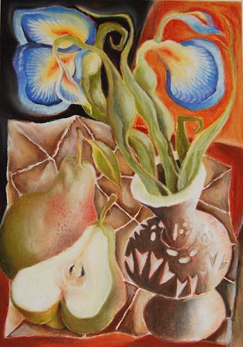 Ken Dowsing, Iris in Vase und Birne, Dekoratives, Natur, Expressionismus