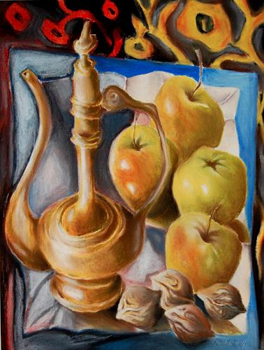 Ken Dowsing, Karaffe mit Äpfel und Nüssen, Essen, Dekoratives, Expressionismus