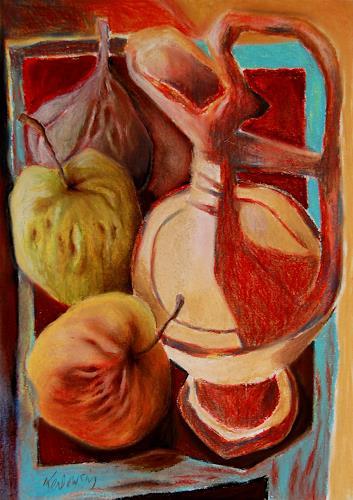 Ken Dowsing, Karaffe mit Äpfel und Feigen, Dekoratives, Essen, Expressionismus