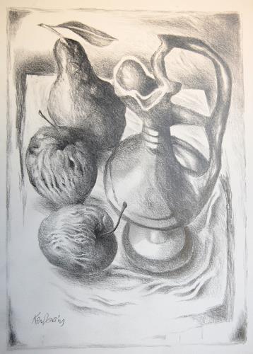 Ken Dowsing, Karaffe mit Äpfel und Birnen, Dekoratives, Expressionismus