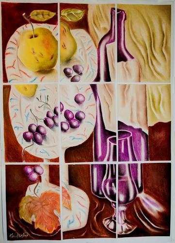 Ken Dowsing, Weinflasche mit Obstschale, Stilleben, Essen, Expressionismus