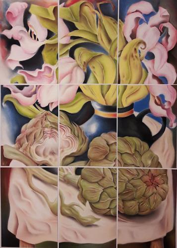 Ken Dowsing, Tulpen mit Artischocken, Dekoratives, Poesie, Expressionismus