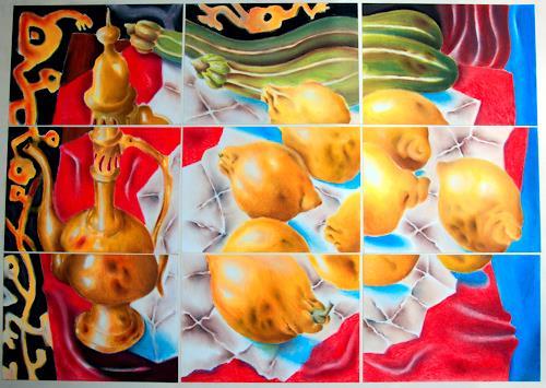 Ken Dowsing, Zitronen mit Karaffe, Dekoratives, Poesie, Expressionismus