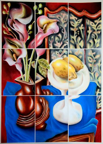 Ken Dowsing, Orchideen und Zitronen, Natur, Dekoratives, Expressionismus
