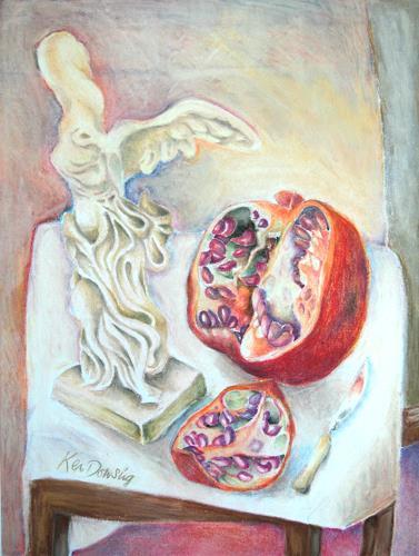 Ken Dowsing, Engel mit Granatapfel, Dekoratives, Natur, Expressionismus
