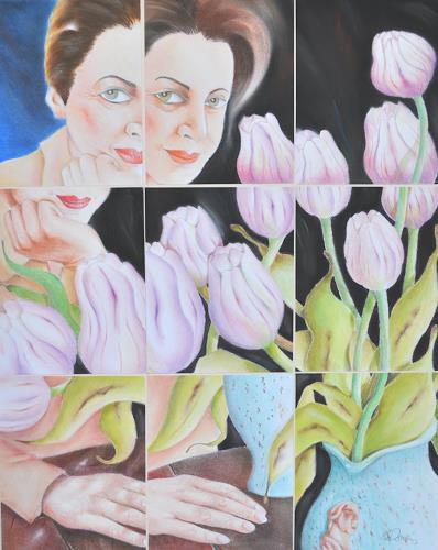 Ken Dowsing, Tulpen mit Silvia, Menschen: Frau, Pflanzen: Blumen, Abstrakte Kunst