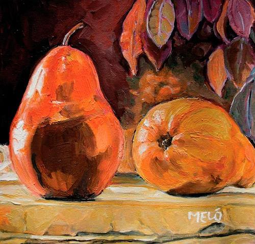 Meló, zwei Birnen auf einer Mauer, Stilleben, Essen, expressiver Realismus, Expressionismus