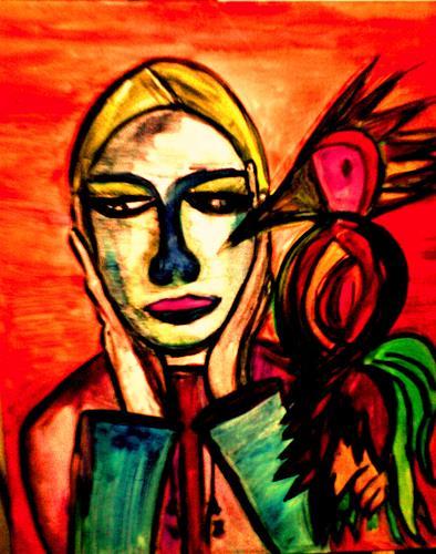 Angelika Demel, Ärztin mit Papagei als Souffleur, Fantasie, New Image Painting