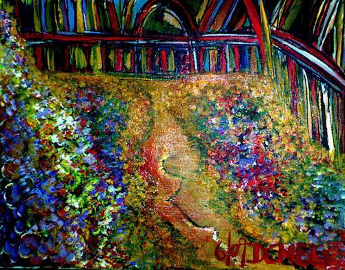 Angelika Demel, Der letzte Rosenkrieg im Rosengarten, Symbol, Pointilismus, Expressionismus