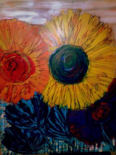 Angelika Demel, Junimond Sonntagsbild, Pflanzen: Blumen, Neo-Expressionismus