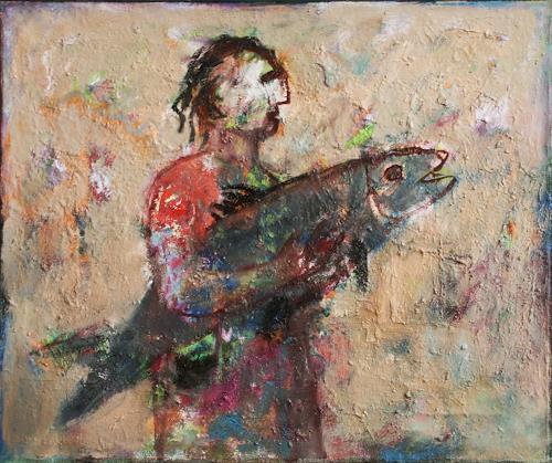 Victor Gutsu, big fish, Menschen, Mythologie, Neo-Expressionismus, Abstrakter Expressionismus