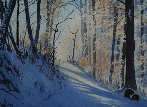 Daniel Gerhard, Neujahrmorgen, Landschaft: Winter, Natur: Wald, Expressionismus