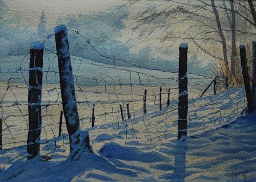 Daniel Gerhard, Der alte Zaun, Landschaft: Winter, Gefühle: Freude, Expressionismus