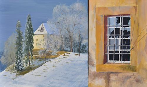 Daniel Gerhard, Schloss Rued, Architektur, Landschaft: Winter