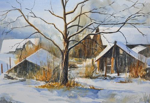Daniel Gerhard, Hinterhof Winter, Landschaft: Winter, Natur: Diverse