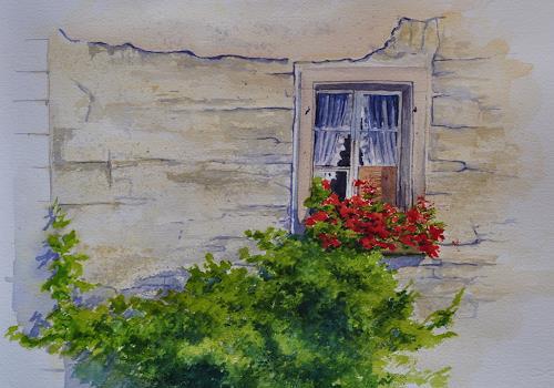 Daniel Gerhard, Geranienfenster, Pflanzen: Blumen, Architektur