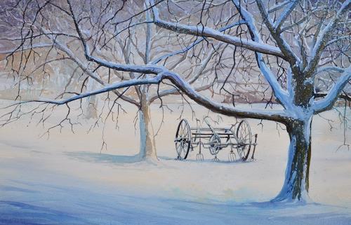 "Daniel Gerhard, Heugümper"" im Winter, Landschaft: Winter, Pflanzen: Bäume, Expressionismus"