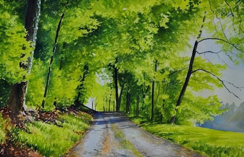 Daniel Gerhard, Maigrün, Natur: Wald, Landschaft: Frühling, Expressionismus