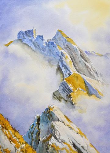 Daniel Gerhard, Pilatus, Wolkenspiel, Landschaft: Berge, Zeiten: Herbst, Abstrakte Kunst
