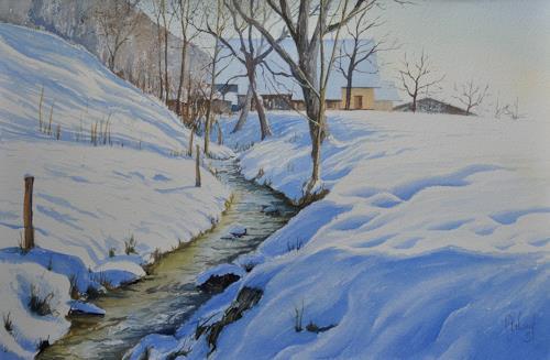 """Daniel Gerhard, Bächlein im """"Marchstein, Zeiten: Winter, Natur: Wasser, Expressionismus"""