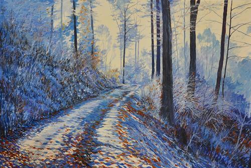 Daniel Gerhard, winterlicher Waldweg, Landschaft: Winter, Natur: Wald, Expressionismus