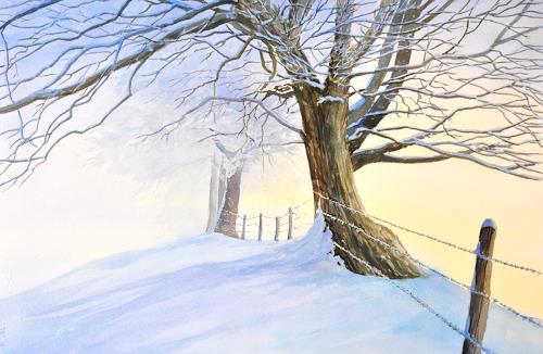 Daniel Gerhard, Der Nebel weicht..., Landschaft: Winter, Pflanzen: Bäume, Abstrakte Kunst, Expressionismus
