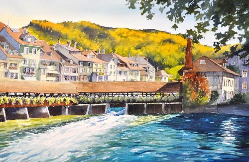 Daniel Gerhard, Thun, Herbsttag, Landschaft: Herbst, Architektur, Abstrakte Kunst, Expressionismus