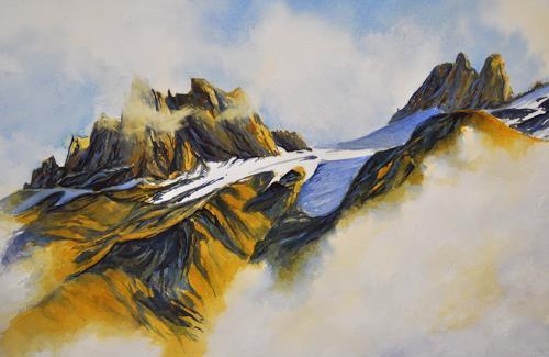 Daniel Gerhard, Herbstnebel am Spannort, Natur: Gestein, Landschaft: Berge, Expressionismus